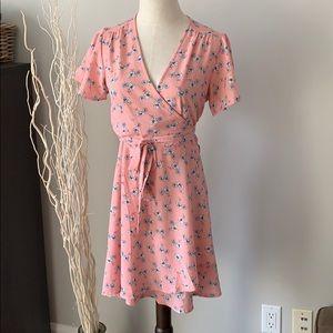 Pink flower wrap dress -size Small